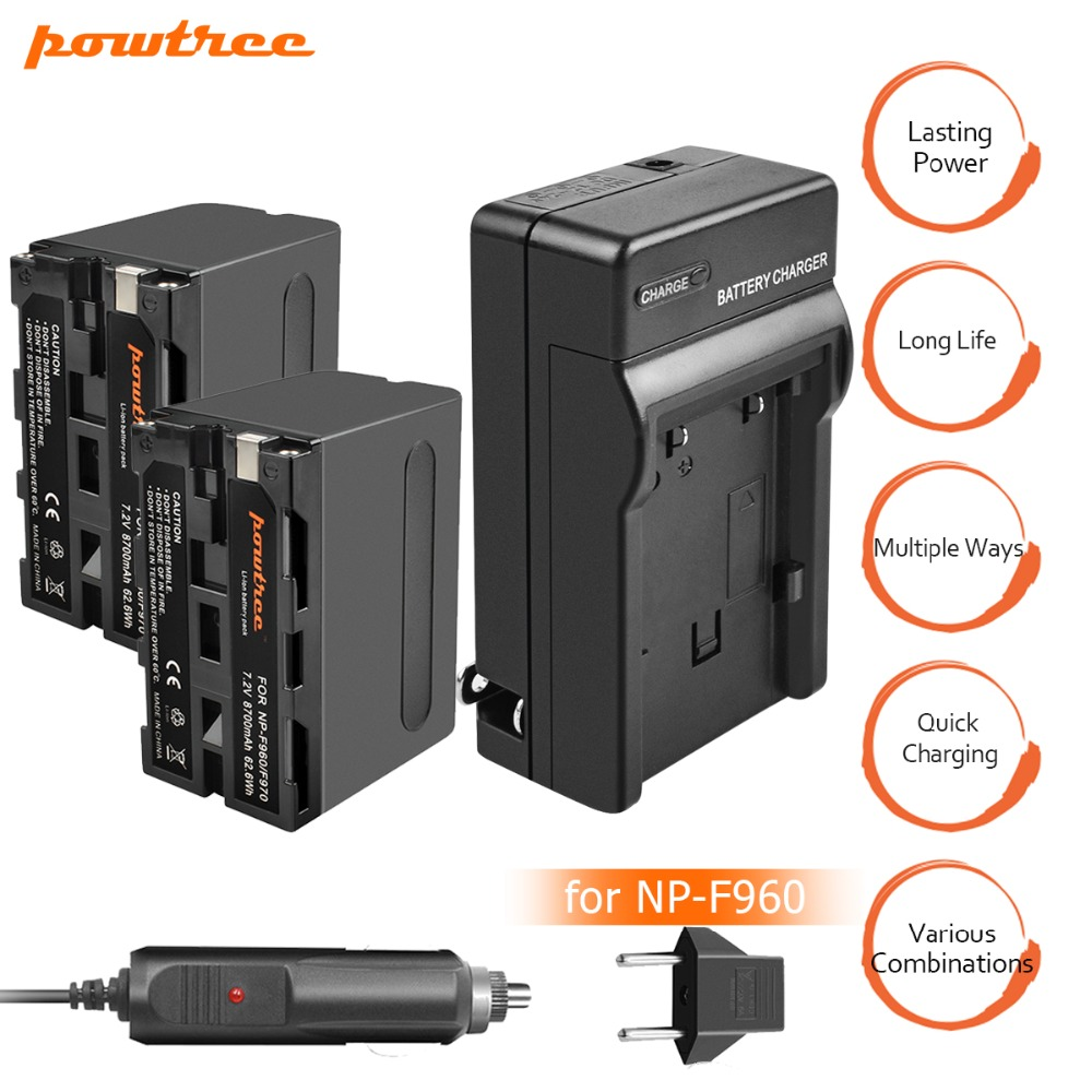 2X8700 mah NP-F960 NP-F970 Batterie Pack + Voiture AC Chargeur Kits & Plug Power Adaptateur pour Sony NP-F770 NP-F750 F960 F970 F550 L10