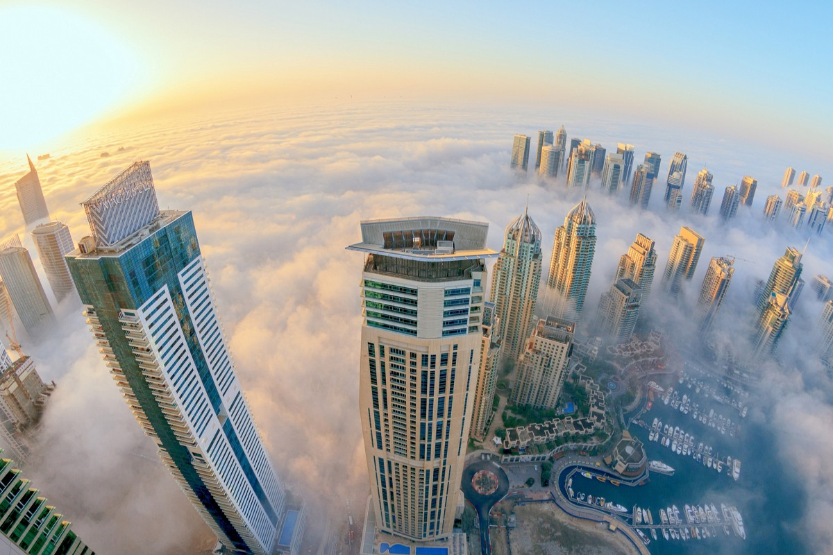 fabric poster custom print Dubai skyscrapers in cloud and Fog 106PFJ for wall decor room decor home decoration (frame available)