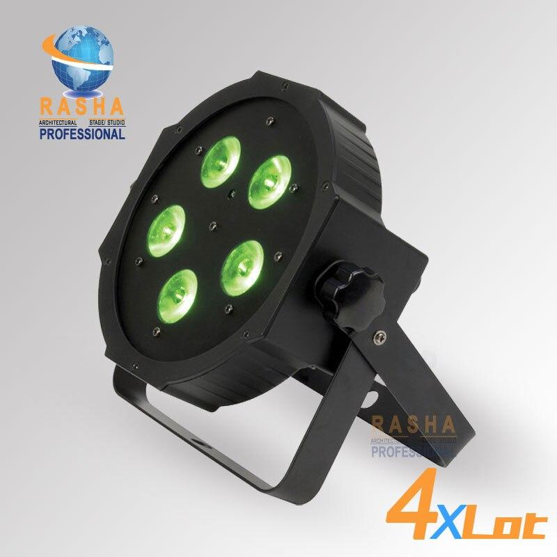 4X LOT Rasha Hex V6 New Arrival 5*18W 6in1 RGBAW+UV LED Par Profile,LED Mega Profile Light,Disco Stage Par Light for Event Party