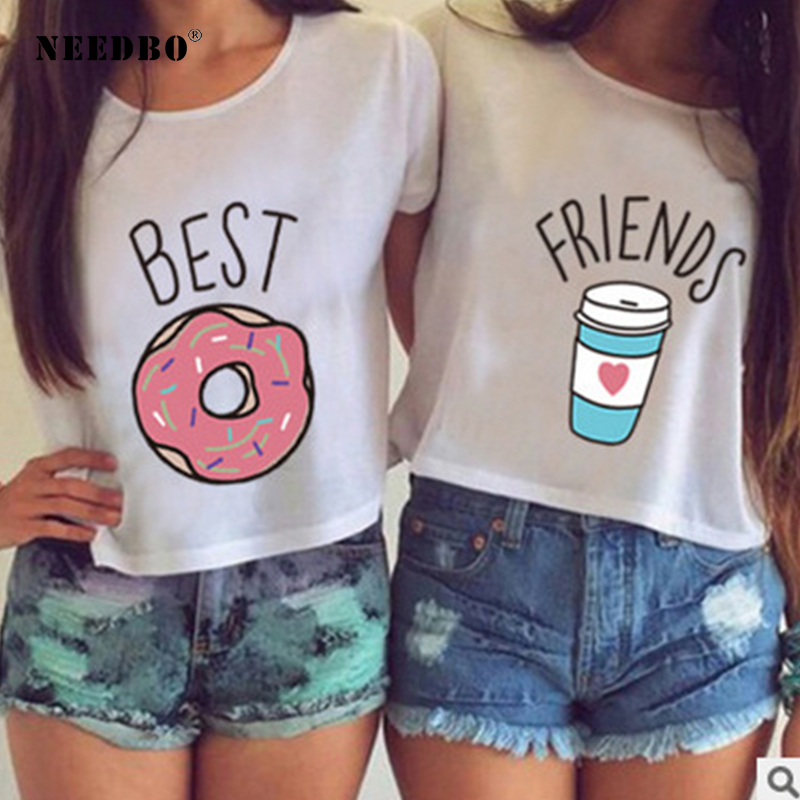 NEEDBO Friends tshirt Women Sexy Crop Top   t     shirt   Print Funny Casual Short Sleeve Best Friends Sister White   T  -  shirt   Women Summer