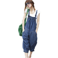 Free Shipping 2014 New Fashion Loose Casual Denim Bib Pants Harem Jumpsuit And Rompers Summer Plus