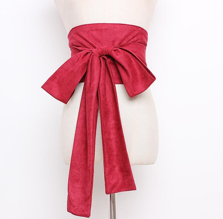Women's Runway Fashion Faux Suede Leather Big Bow Cummerbunds Female Dress Corsets Waistband Belts Decoration Wide Belt R1660