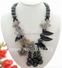 Очаровательная! Larvikite & Оникс & Агат Цветок Ожерелье