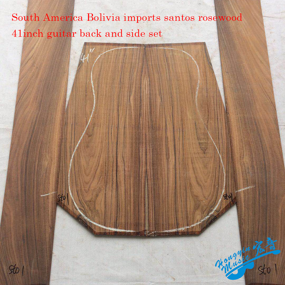 South American Bolivia imports Santos Rosewood Wood For 41inch Guitar Back And Side Kit Guitar Panel