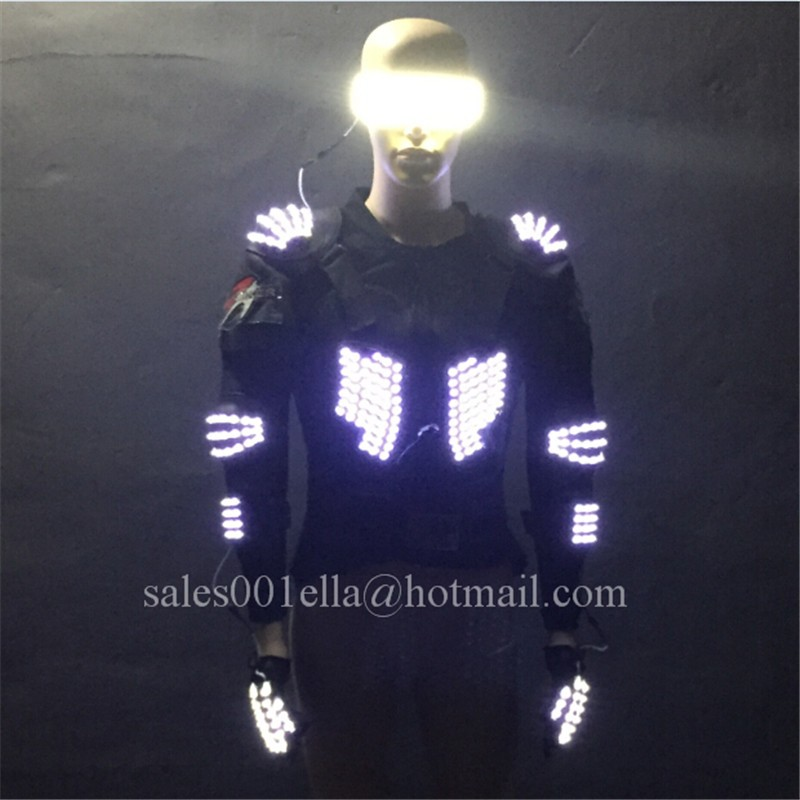 3 Sets Led Luminous Stage Performance Dance Ballroom Costume Clothes With Led Glasses And Gloves
