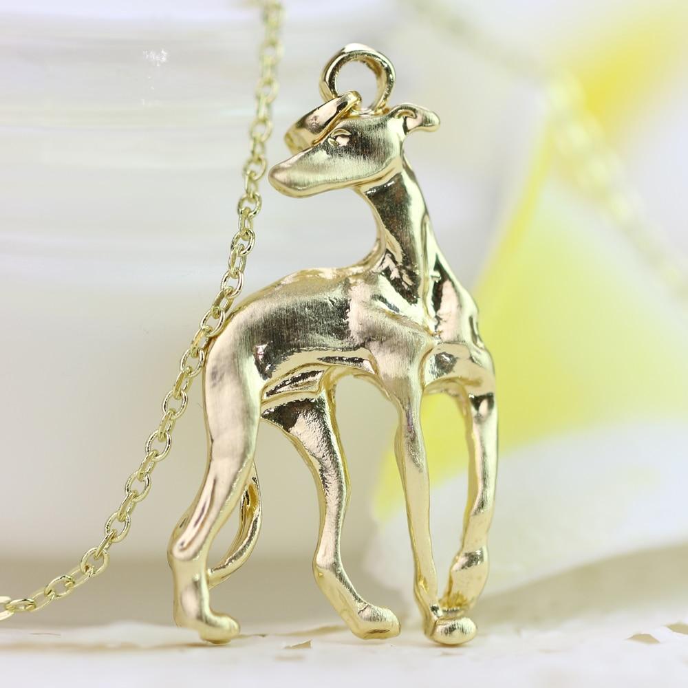 Greyhound ogrlica Galgo sprejeti reševalni whippet pes oblika zlato - Modni nakit - Fotografija 6