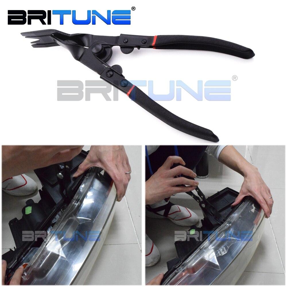 Alicates bi-metal abrazadera Herramienta de retroajuste para Abrir Auto coches motocicleta bi-xenon proyector lente faro faro de ajuste