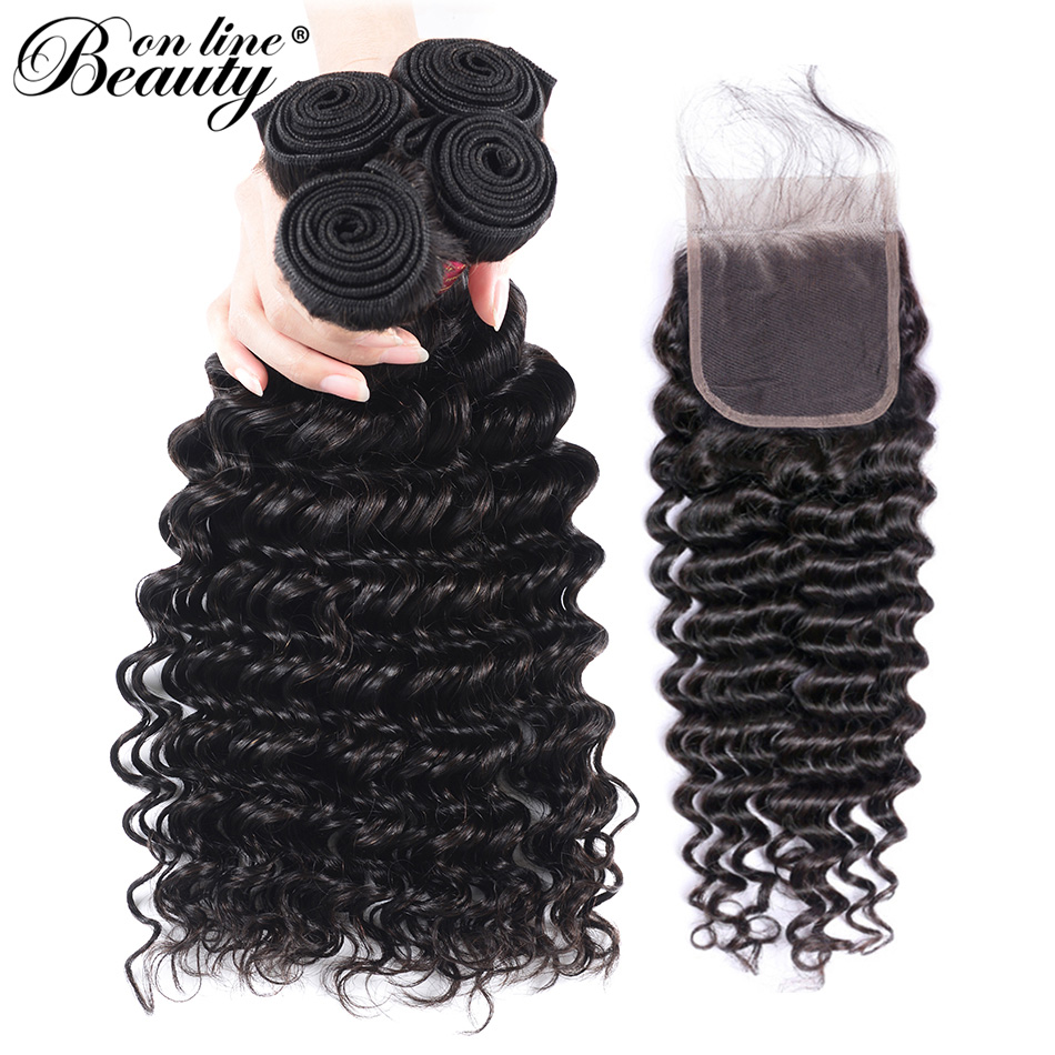 Beauty On Line Hair Deep Wave Hair Bundles With Closure Remy Peruvian Hair 4 Bundles With 4*4 Free Middle Three Part Closure