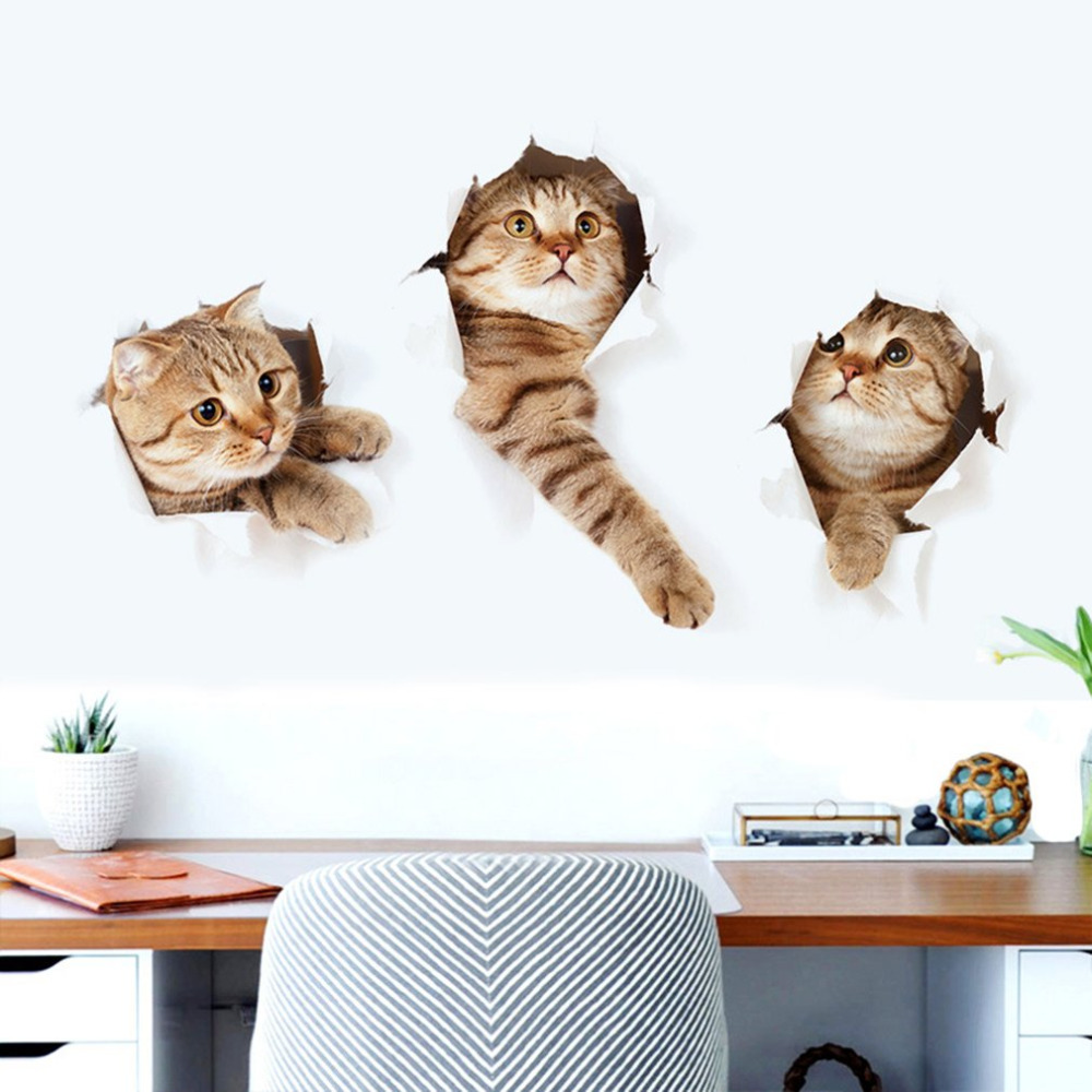 online buy wholesale pet wall decor from china pet wall decor new fashionable 3d cat wall sticker animal home pet shop wall decoration picture lovely children room