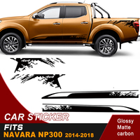 free shipping 4 PC side door rear trunk cool shark stripe graphic Vinyl sticker for NAVARA NP300 2015 2016 accessories decals
