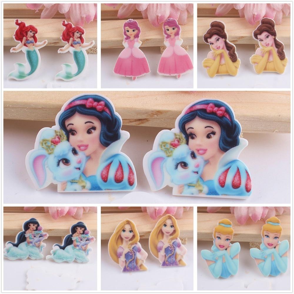 10pcs/lot Acrylic Planar Resin Cabochons Accessories For Kids Hot Sale Princess