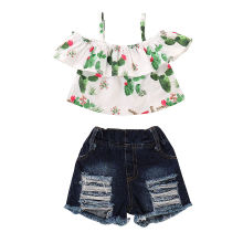 Kids Baby Girl Summer Clothing Cactus Print Off Shoulder Ruffle Tops Ripped Jeans Shorts Outfits Children Boutique Clothes