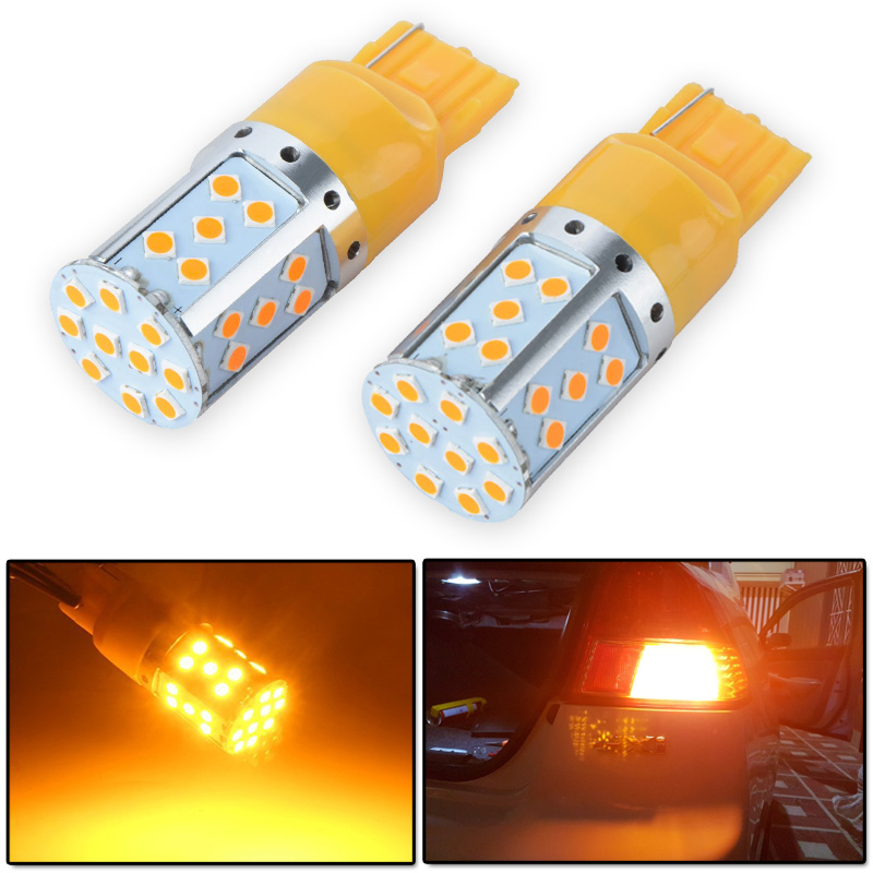 Modify.Era 2pcs Car 7440 LED Error Free Amber Yellow 35-SMD 3030 LED T20 W21W LED Bulbs For Turn Signal Lights,Led Lamp For Auto