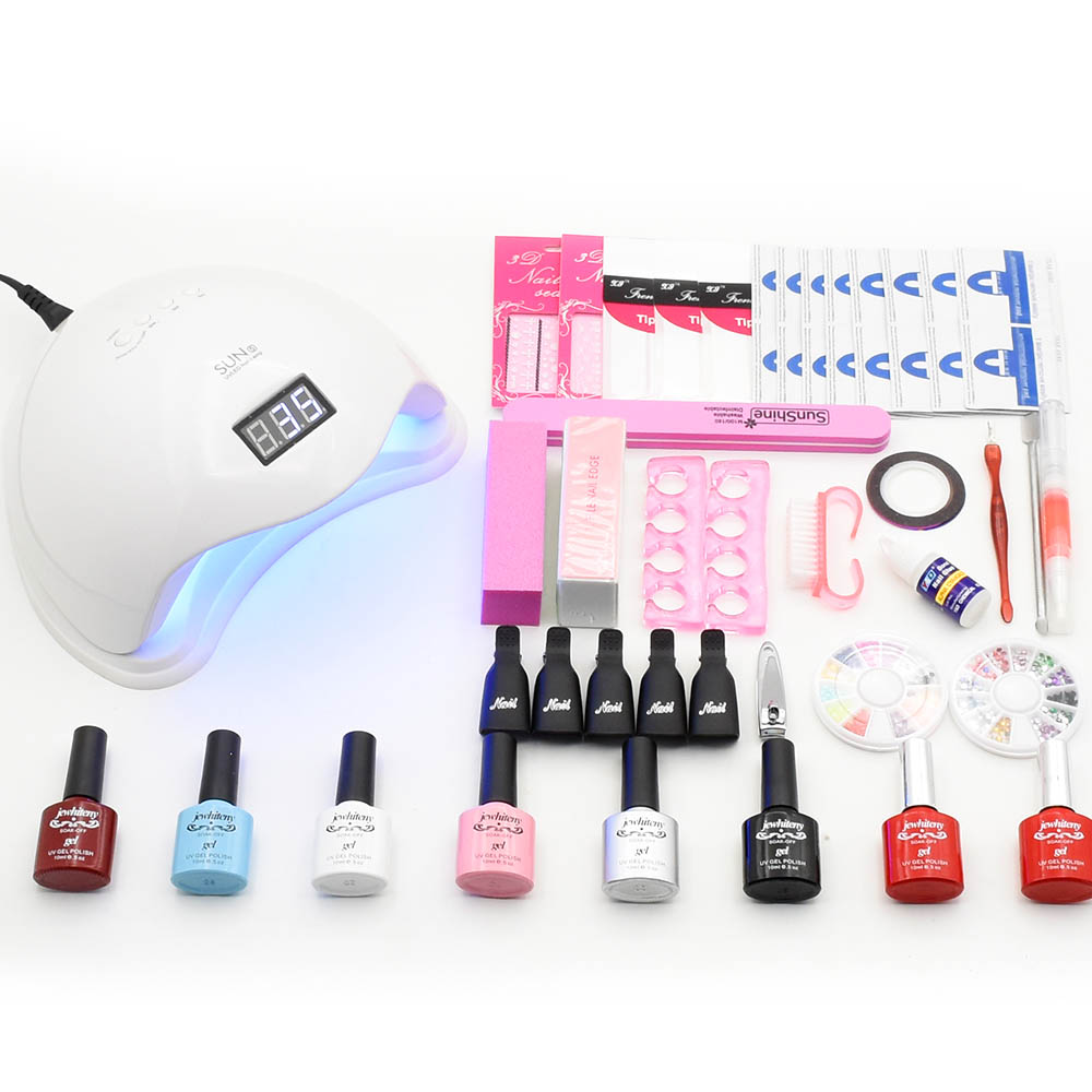 Nail art set manicure tools 6 Color Gel Soak off UV Gel Nail Base Top Coat Gel Nail Polish UV LED lamp dryer Manicure Set kit new arrival manicure set 4 color 10ml soak off gel base gel top coat polish nail art tools sets kits with 6w mini led lamp