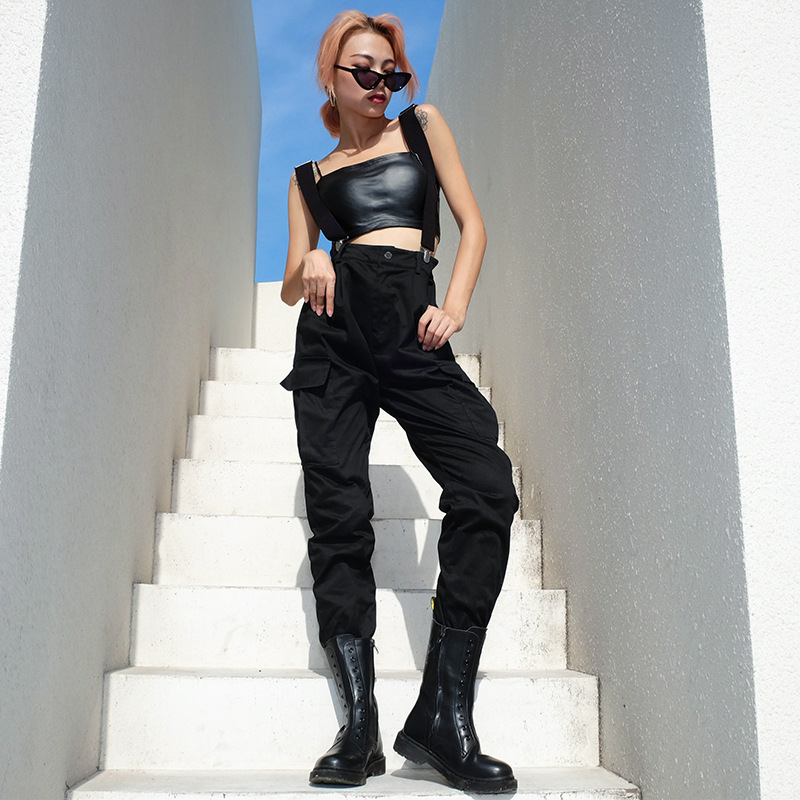 Rockmore Streetwear Strap Cargo   Pants     Capris   Women Korean Fashion Black   Pants   Casual Loose High Waist Trousers Harajuku Jogger