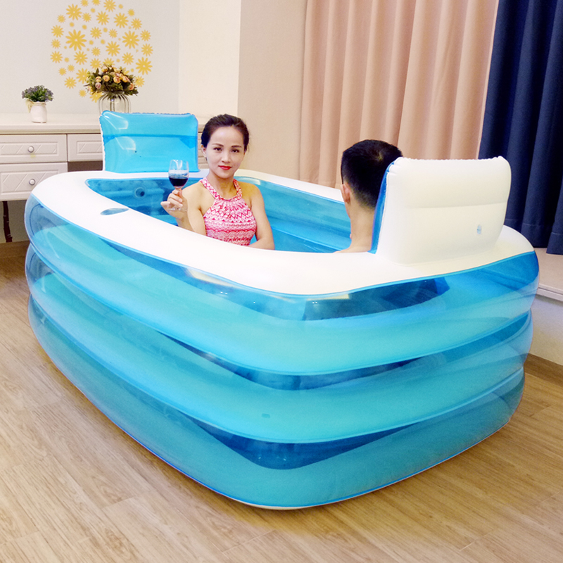 Couple Adult PVC Portable Folding Inflatable Bath Tub with Air Pump ...
