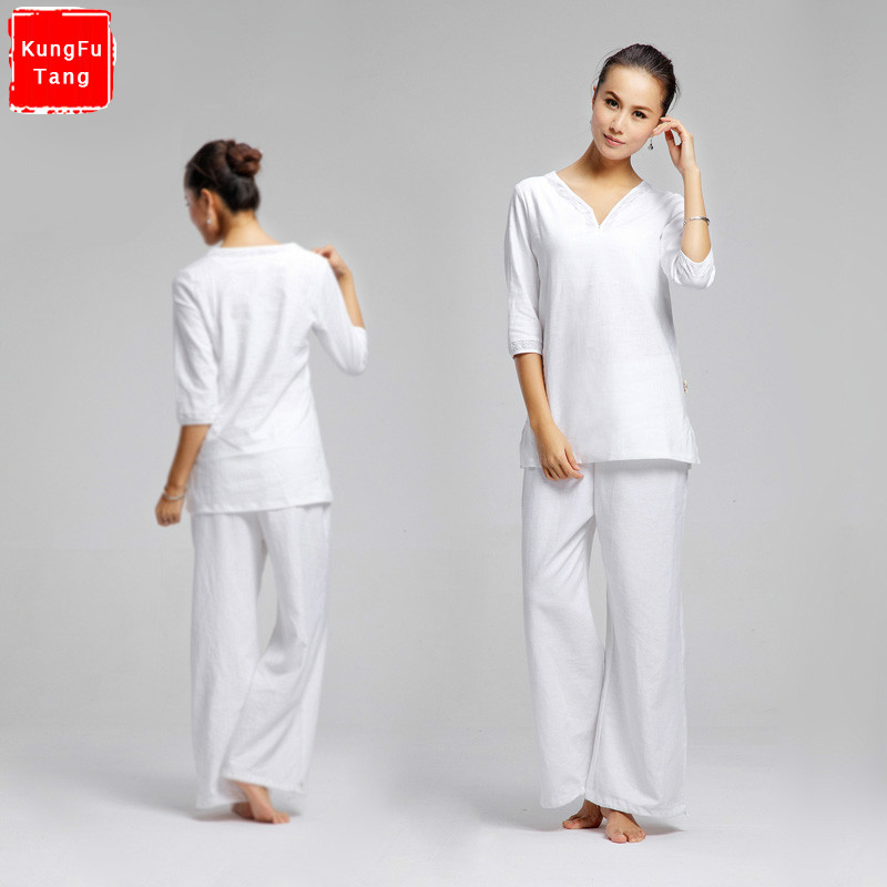 White Yoga Set Cotton Linen Yoga Shirt Pants Zen Meditation Clothing Woman Sportswear Set Gym Yoga Suit Shirt Pants Tracksuit iminovo 20 pack e14 led light bulb ac 220v 6w 2835 smd ceramics spotlight replace halogen spotlight chandelier warm cool white