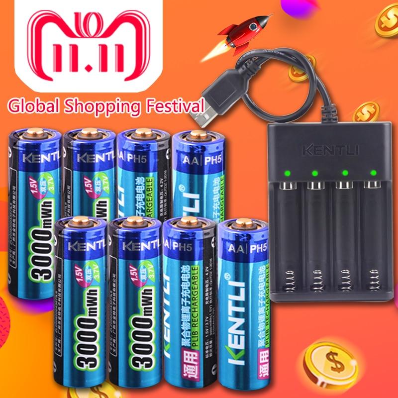 KENTLI 8pcs 1.5v 3000mWh AA rechargeable Li-polymer li-ion polymer lithium battery + 4 slots USB smart Charger 8pcs 4aa 4aaa battery 1 5v 3000mwh 1100mwh li polymer li ion polymer lithium rechargeable aa aaa battery batterie 1 charger