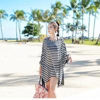 New Long Stripe Bikini Smock Wrap Dress Veil Black And White Stripes Cover Ups Dress The