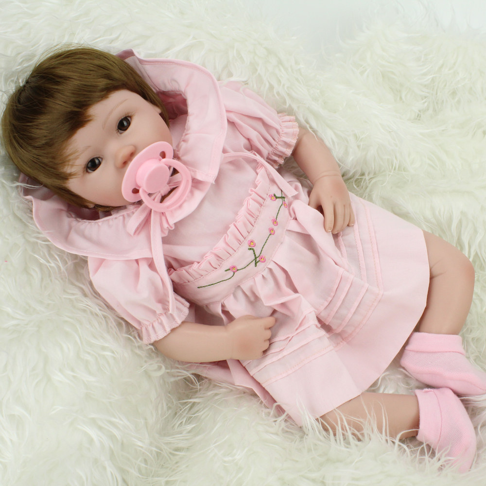 ФОТО 16 inch   silicone reborn baby dolls/ girl reborn babies bonecas cloth body with magnetic pacifierbrinquedos