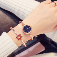 Luxury Women Bracelet Watches Fashion Rose Gold Blue Starry Sky Bangle for Small Dial Dress Clock Relogio Feminino