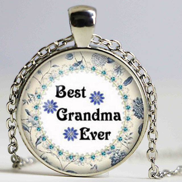 4d5c2a6d6 Grandma necklace Mother's day pendant Grandma jewelry The best Grandma ever  I love you Grandma Glass Cabochon Necklace