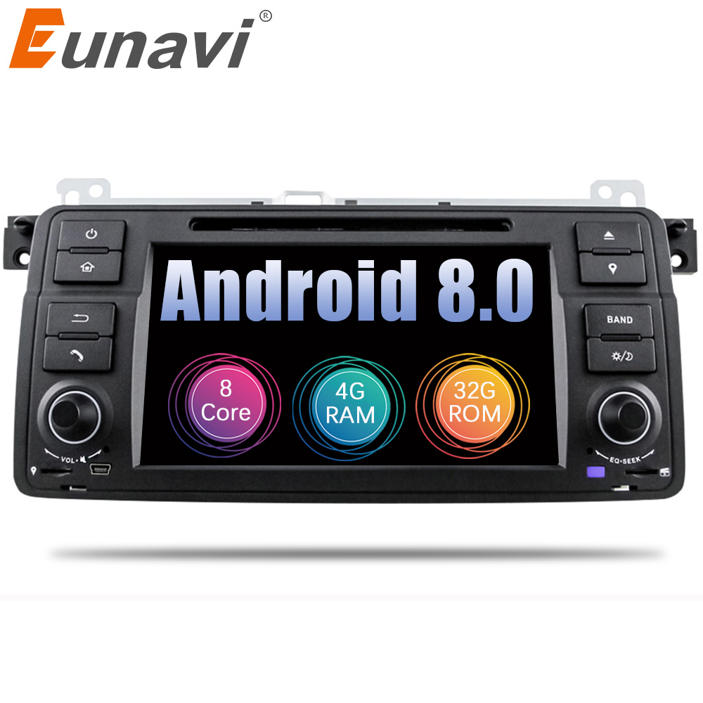 Eunavi 1 Din Octa 8 Core Android 8.0 Pour BMW E46 M3 Rover 75 Voiture lecteur dvd gps Navi Wifi 4G radio RDS Canbus RAM 4 GB ROM 32 GB