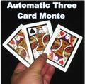 Automático Three Card Monte ( tamaño poker, 8.8 x 6.4 cm ), truco de magia, etapa, mentalismo, Close up, ilusiones, truco, comedia, accesorios