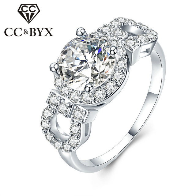 Halo Round 2 Carat CZ Engagement Rings For Women White Gold Color Wedding Bijoux Bagues