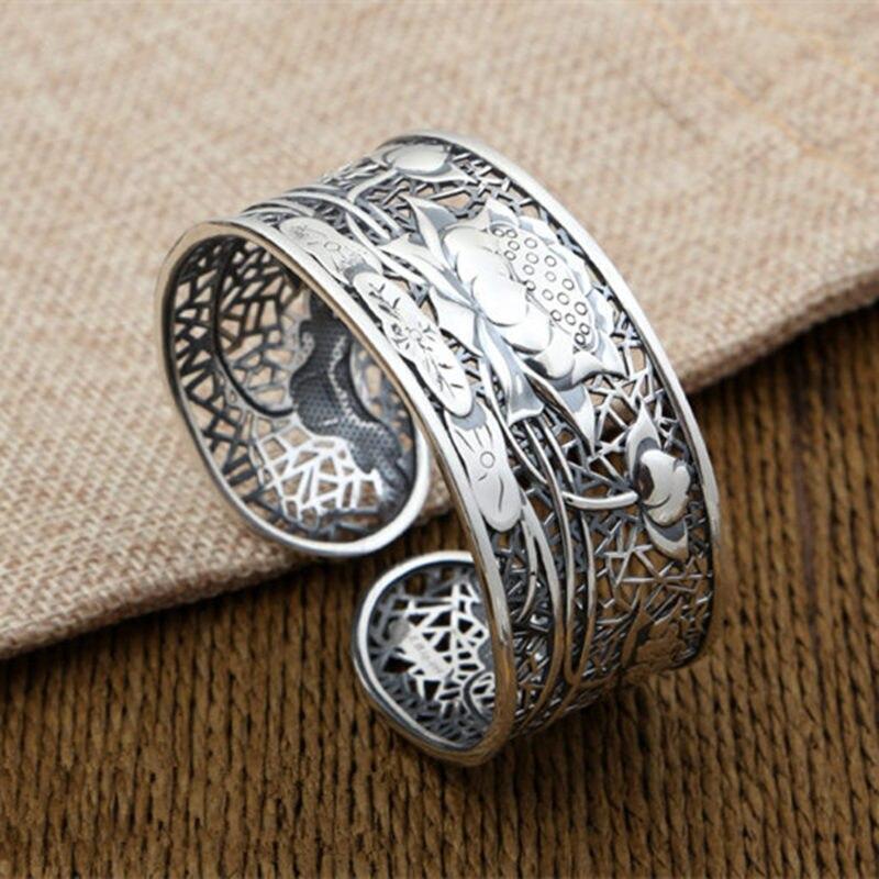 Чистого серебра 990 полые лотоса широкие манжеты браслет для Для женщин античный тайский серебро Винтаж Китай Стиль ювелирных женский подар...