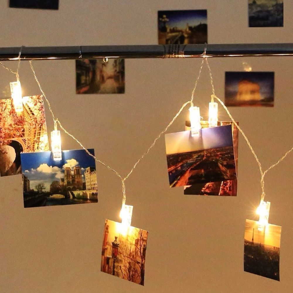New 20 LED Photo Clip Light Clip String Lights Battery Powered for Hanging Photos Paintings Pictures Card and Memos Indoor D