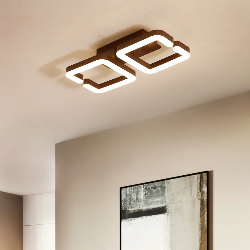 Brown Modern Led Ceiling Chandelier Lamp Lampara de techo Chandelier Lighting For Living Room Bedroom lustre cristal lampadario