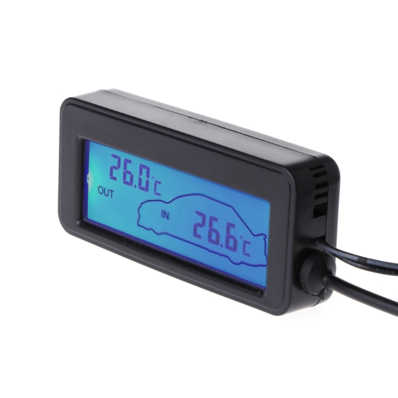 Digital Car LCD Display Indoor Outdoor Thermometer Vehicles Cable Sensor 12V New