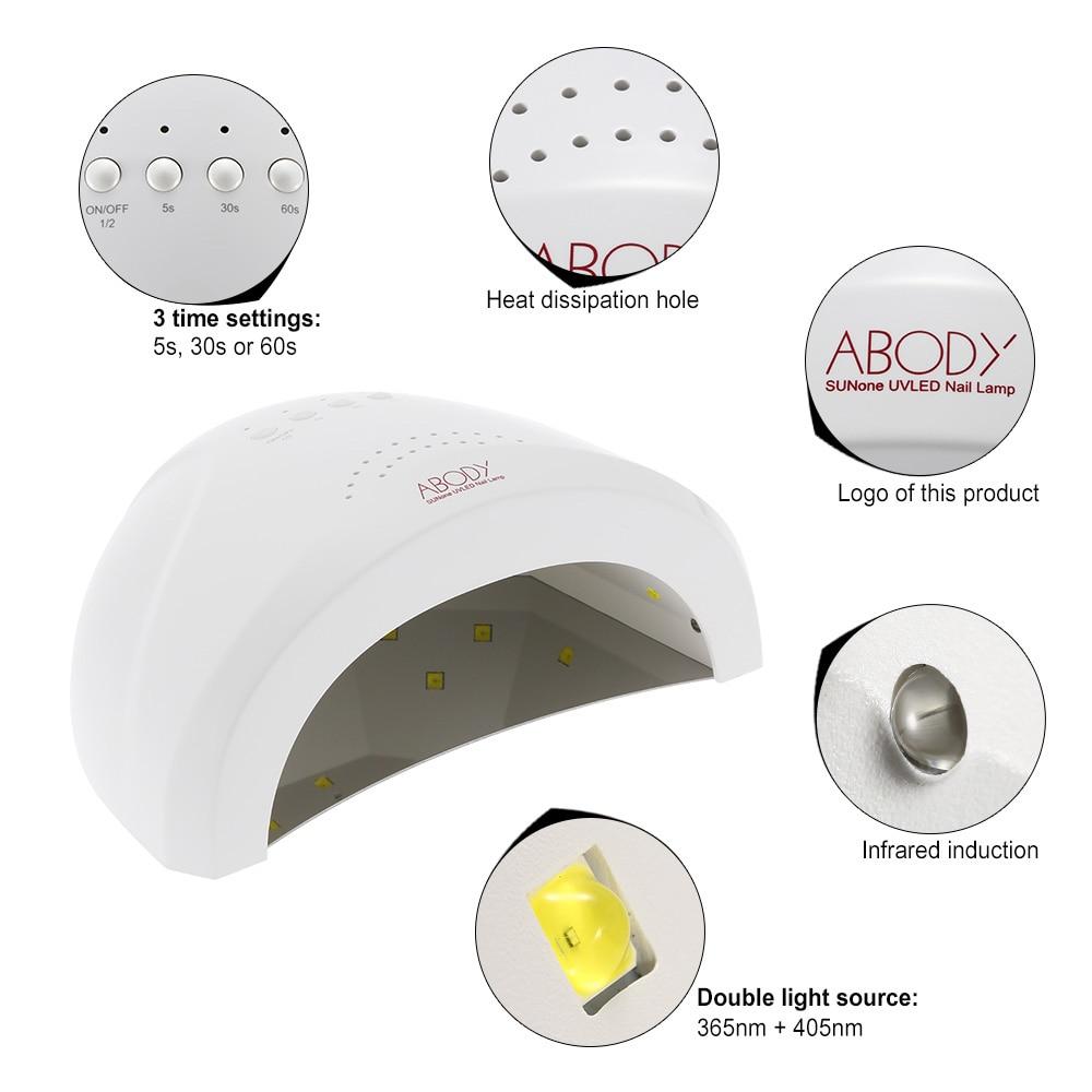 Abody 2448w uv lamp nail polish dryer led white light 5s 30s 60s 1 sunone nail lamp 1 adapter 1 eu plug 1 user manual parisarafo Choice Image