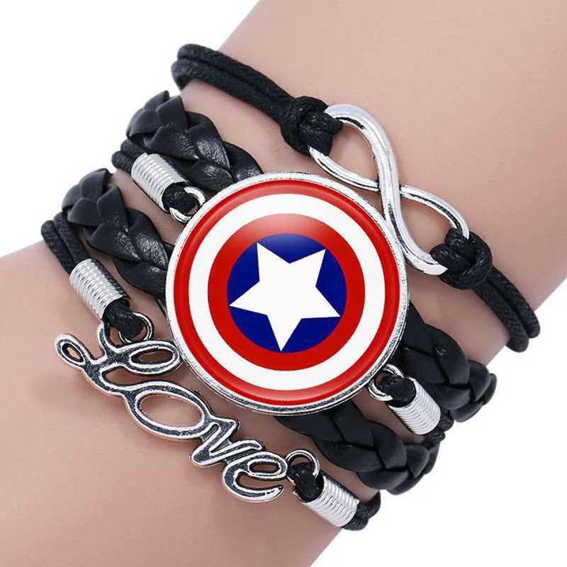 חדש נוקמי 4 קפטן אמריקה חומת Deadpool Thor באטמן קסמי צמיד זכוכית קרושון רב שכבתי עור צמידי תכשיטים