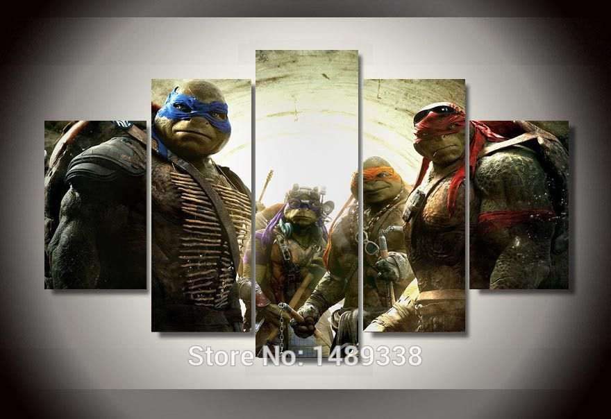 US $19 9 |Framed Printed cartoon Teenage Mutant Ninja Turtles Group  Painting room decor print film poster canvas Free shipping jjh395-in  Painting &