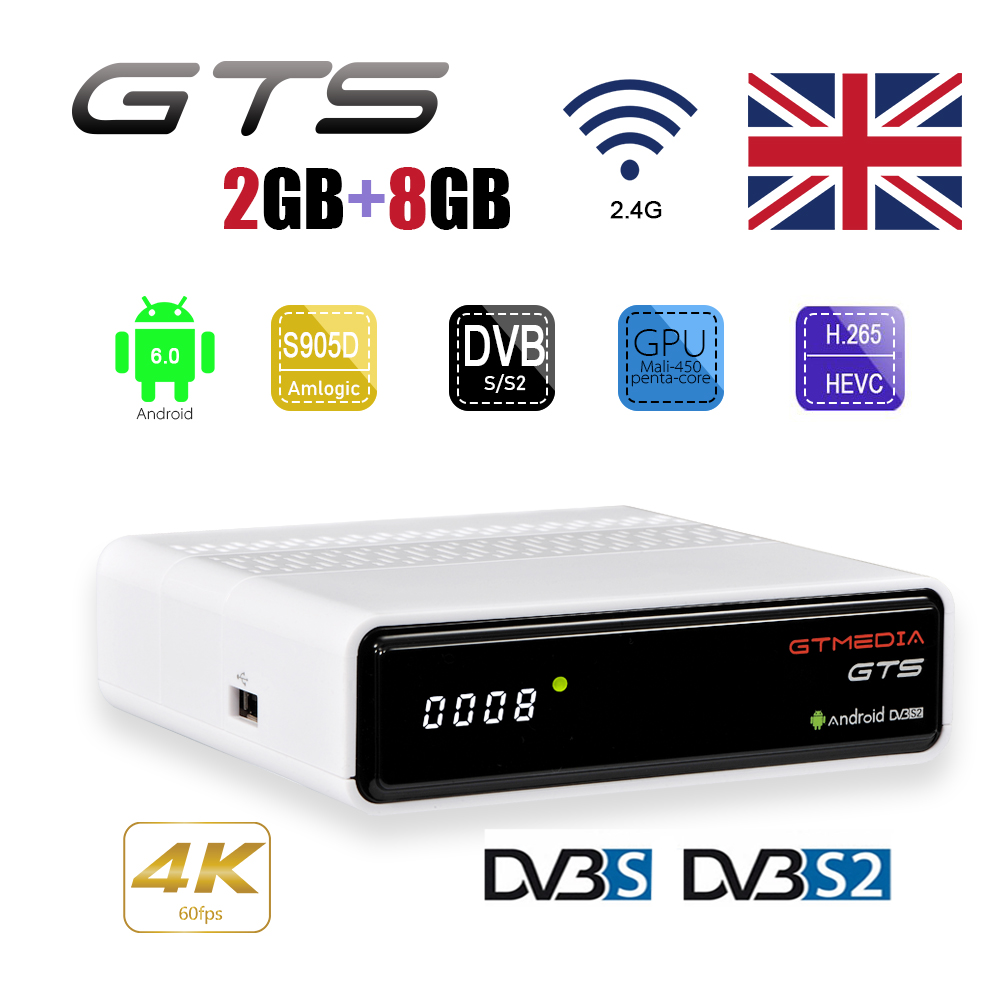 GTmedia GTS Android 6.0 4 K TV BOÎTE Combo DVB-S2 récepteur satellite Décodeur 2 GB RAM 8 GB ROM Amlogic S905D BT4.0 Smart Set Top box
