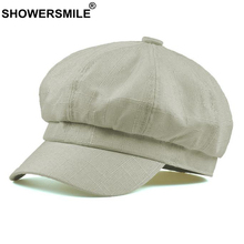 SHOWERSMILE Summer Newsboy Cap Women Cotton Linen Hat Men Solid Beige Adjustable Breathable Gatsby Octagonal Unisex