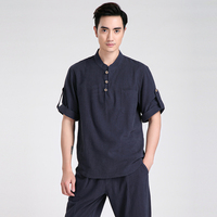 Navy Blue Chinese Men Cotton Linen Kung Fu Shirt Summer Short Sleeve Casual Shirt New Tang