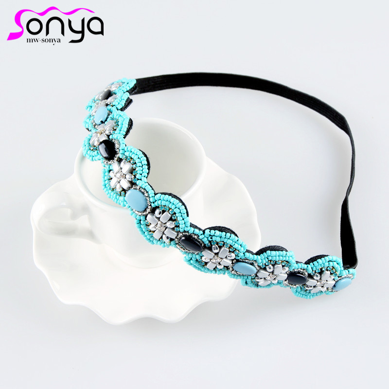 New Vintage Women Headbands Hair Accessories Beads Rhinestone Bling Headbands for Women 3H3010