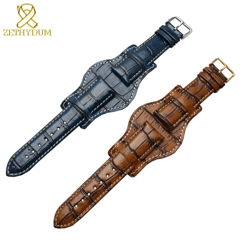 Genuine Leather Bracelet 18mm 20mm 22mm Restoring Watch Strap Mens Watchband With Mat Wristwatches Band Bamboo Grain Wristband