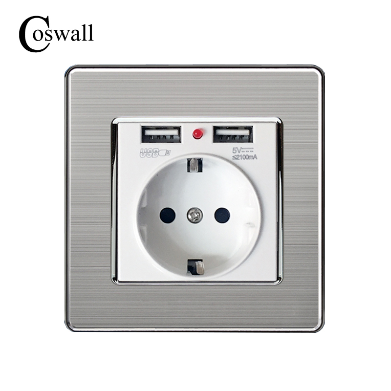 Coswall Best Dual USB Port 5V 2.1A Electric Wall Charger Adapter EU Plug Socket Switch Power Dock Station Charging Outlet Panel