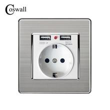 Coswall Mejor Puerto USB Dual 5 V 2.1A Cargador de Pared Eléctrica adaptador de LA UE Plug Socket Interruptor Power Dock Estación de Carga De Salida Panel