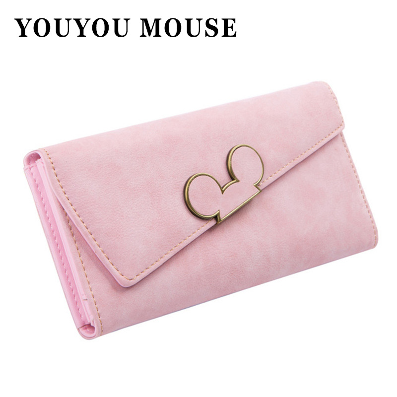 YOUYOU MOUSE Fashion Long Women Leather Wallet Hit Color Ladies Wallet Creative Design Hasp Clutch Coin Pocket Card Holder casual weaving design card holder handbag hasp wallet for women