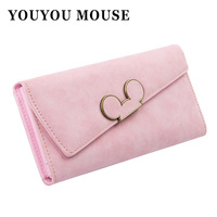 Hot New High Fashion Women Wallet Scrub Hit Color Lnclined Lid Ladies Wallet Creative Design Hasp
