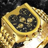 Relojes de cuarzo TEMEITE para hombre reloj dorado de lujo de primera marca 3 huso horario fecha correa de acero inoxidable militar reloj de pulsera de gran tamaño