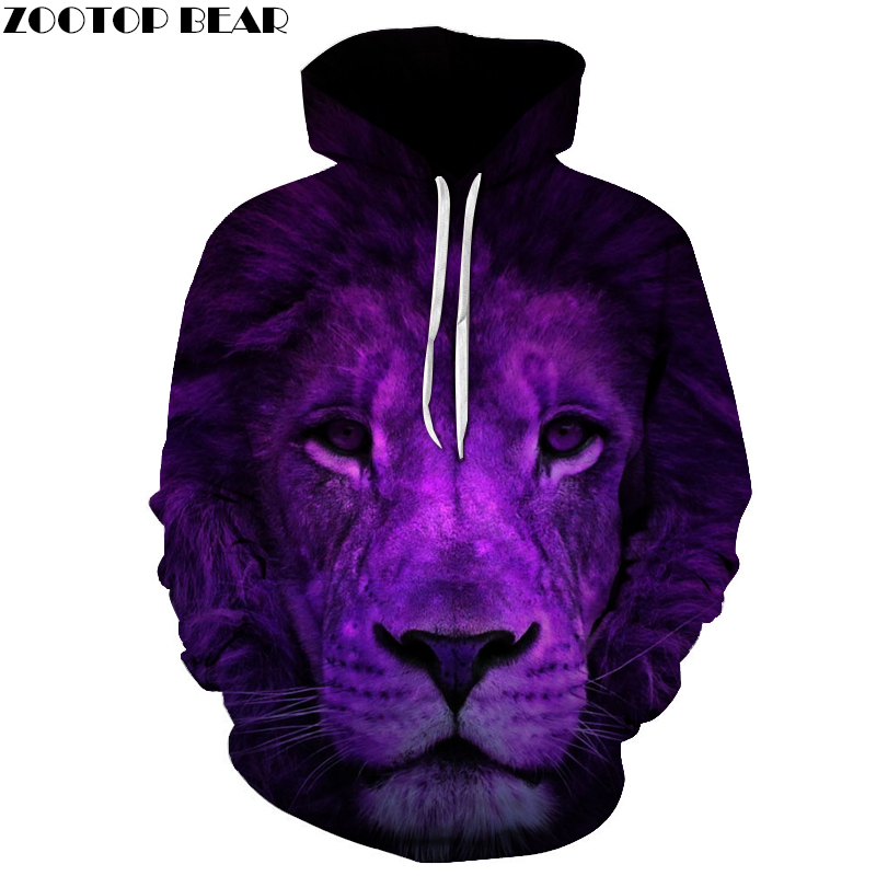 Purple Lion King 3D Sweatshirts Men Hooded Tracksuit Cool Funny Hip Hop Rock Pullover Animal Hoodies Male Hooded Jacket Outwear
