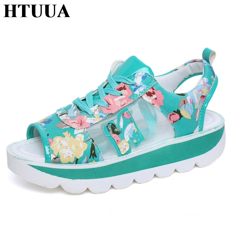 HTUUA Platform Wedge Sandals Lace-Up Summer Shoes Breathable Peep-Toe Fashion Woman Mesh