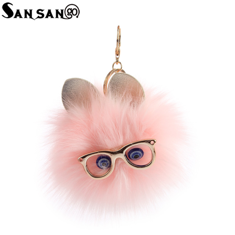 Cute Fluffy Faux Fox Fur Cat Wearing Glasses Key Chain For Woman Girls Handbag Car Pendant Jewelry Gift ...