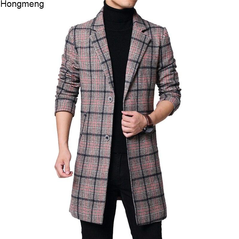 Long-Coat Pocket Plaid Woolen Winter Mens Red No Full M-6XL 18novw4 Two-Buttons Melton